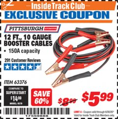 Harbor Freight ITC Coupon 12 FT., 10 GAUGE BOOSTER CABLES Lot No. 63376/69294 Valid Thru: 6/30/20 - $5.99