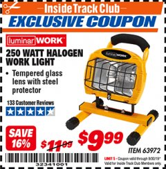 Harbor Freight ITC Coupon 250 WATT PORTABLE HALOGEN WORK LIGHT Lot No. 63972 Expired: 9/30/19 - $9.99