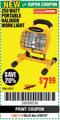 Harbor Freight Coupon 250 WATT PORTABLE HALOGEN WORK LIGHT Lot No. 63972 Expired: 9/30/18 - $7.99