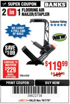 Harbor Freight Coupon 2 IN 1 FLOORING AIR NAILER/STAPLER Lot No. 64268 Expired: 10/7/18 - $119.99