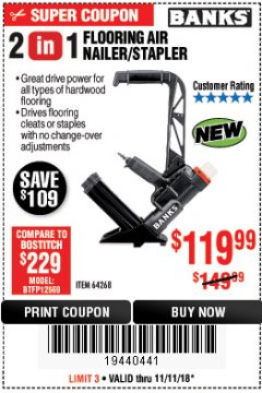 Harbor Freight Coupon 2 IN 1 FLOORING AIR NAILER/STAPLER Lot No. 64268 Expired: 11/11/18 - $119.99