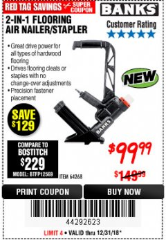 Harbor Freight Coupon 2 IN 1 FLOORING AIR NAILER/STAPLER Lot No. 64268 Expired: 12/31/18 - $99.99