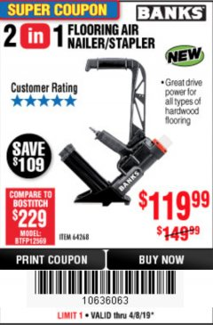 Harbor Freight Coupon 2 IN 1 FLOORING AIR NAILER/STAPLER Lot No. 64268 Expired: 4/8/19 - $119.99