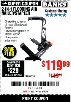 Harbor Freight Coupon 2 IN 1 FLOORING AIR NAILER/STAPLER Lot No. 64268 Expired: 6/30/20 - $119.99