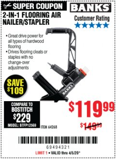 Harbor Freight Coupon 2 IN 1 FLOORING AIR NAILER/STAPLER Lot No. 64268 Valid Thru: 4/5/20 - $119.99