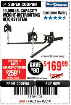 Harbor Freight Coupon 10,000 LB. CAPACITY WEIGHT-DISTRIBUTING HITCH SYSTEM Lot No. 67649/61720 Expired: 10/7/18 - $169.99