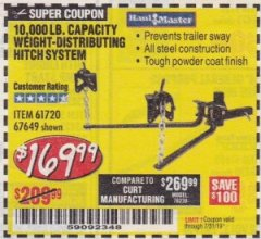 Harbor Freight Coupon 10,000 LB. CAPACITY WEIGHT-DISTRIBUTING HITCH SYSTEM Lot No. 67649/61720 Expired: 7/31/19 - $169.99
