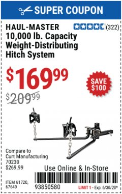 Harbor Freight Coupon 10,000 LB. CAPACITY WEIGHT-DISTRIBUTING HITCH SYSTEM Lot No. 67649/61720 Expired: 6/30/20 - $169.99