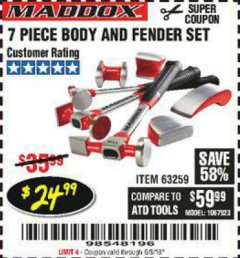 Harbor Freight Coupon 7 PIECE BODY AND FENDER SET Lot No. 63259 Expired: 6/3/19 - $24.99