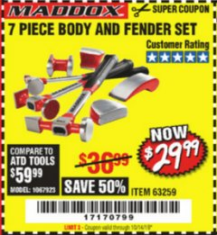 Harbor Freight Coupon 7 PIECE BODY AND FENDER SET Lot No. 63259 Expired: 10/14/19 - $29.99