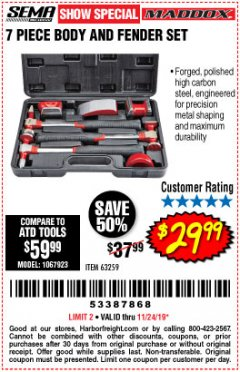 Harbor Freight Coupon 7 PIECE BODY AND FENDER SET Lot No. 63259 Expired: 11/24/19 - $29.99