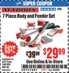 Harbor Freight Coupon 7 PIECE BODY AND FENDER SET Lot No. 63259 Expired: 9/24/20 - $29.99