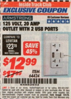 Harbor Freight ITC Coupon 125 VOLT, 20 AMP OUTLET WITH USB PORTS Lot No. 64424 Expired: 7/31/19 - $12.99