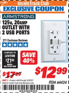 Harbor Freight ITC Coupon 125 VOLT, 20 AMP OUTLET WITH USB PORTS Lot No. 64424 Valid Thru: 4/30/20 - $12.99