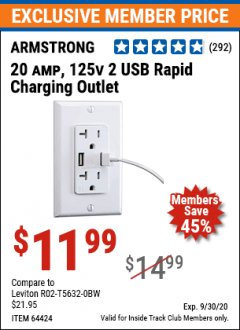 Harbor Freight ITC Coupon 125 VOLT, 20 AMP OUTLET WITH USB PORTS Lot No. 64424 Expired: 9/30/20 - $11.99