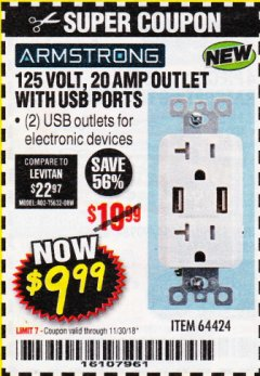 Harbor Freight Coupon 125 VOLT, 20 AMP OUTLET WITH USB PORTS Lot No. 64424 Expired: 11/30/18 - $9.99