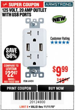 Harbor Freight Coupon 125 VOLT, 20 AMP OUTLET WITH USB PORTS Lot No. 64424 Expired: 11/4/18 - $9.99