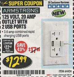 Harbor Freight Coupon 125 VOLT, 20 AMP OUTLET WITH USB PORTS Lot No. 64424 Expired: 4/30/19 - $12.99