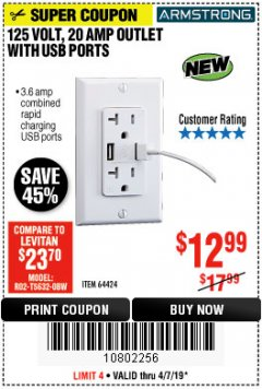 Harbor Freight Coupon 125 VOLT, 20 AMP OUTLET WITH USB PORTS Lot No. 64424 Expired: 6/1/19 - $12.99