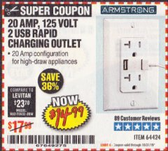 Harbor Freight Coupon 125 VOLT, 20 AMP OUTLET WITH USB PORTS Lot No. 64424 Expired: 10/31/19 - $14.99