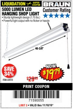 Harbor Freight Coupon BRAUN 5000 LUMENS LED HANGING SHOP LIGHT Lot No. 64410 Expired: 11/10/19 - $19.79