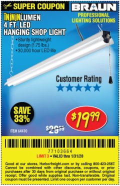 Harbor Freight Coupon BRAUN 5000 LUMENS LED HANGING SHOP LIGHT Lot No. 64410 Expired: 1/31/20 - $19.99