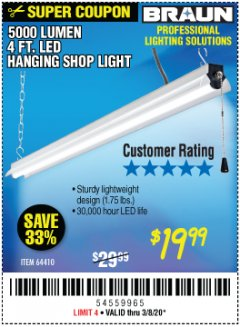 Harbor Freight Coupon BRAUN 5000 LUMENS LED HANGING SHOP LIGHT Lot No. 64410 Expired: 3/8/20 - $19.99