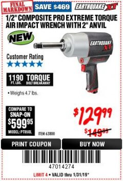 "Harbor Freight Coupon 1/2"" COMPOSITE PRO EXTREME AIR IMPACT WITH 2"" ANVIL Lot No. 63800 Expired: 1/31/19 - $129.99"