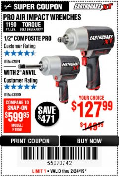 "Harbor Freight Coupon 1/2"" COMPOSITE PRO EXTREME AIR IMPACT WITH 2"" ANVIL Lot No. 63800 Expired: 2/24/19 - $127.99"