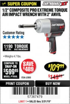 "Harbor Freight Coupon 1/2"" COMPOSITE PRO EXTREME AIR IMPACT WITH 2"" ANVIL Lot No. 63800 Expired: 3/31/19 - $109.99"