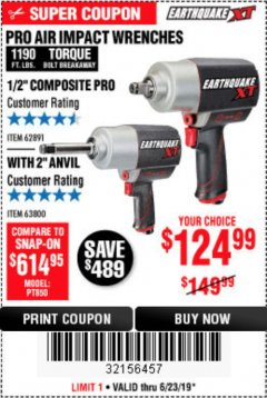 "Harbor Freight Coupon 1/2"" COMPOSITE PRO EXTREME AIR IMPACT WITH 2"" ANVIL Lot No. 63800 Expired: 6/23/19 - $124.99"