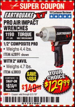 "Harbor Freight Coupon 1/2"" COMPOSITE PRO EXTREME AIR IMPACT WITH 2"" ANVIL Lot No. 63800 Expired: 8/31/19 - $129.99"