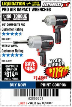 "Harbor Freight Coupon 1/2"" COMPOSITE PRO EXTREME AIR IMPACT WITH 2"" ANVIL Lot No. 63800 Expired: 10/31/19 - $119.99"
