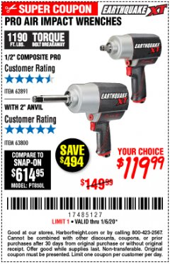 "Harbor Freight Coupon 1/2"" COMPOSITE PRO EXTREME AIR IMPACT WITH 2"" ANVIL Lot No. 63800 Expired: 1/6/20 - $119.99"