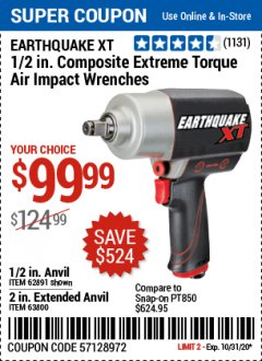"Harbor Freight Coupon 1/2"" COMPOSITE PRO EXTREME AIR IMPACT WITH 2"" ANVIL Lot No. 63800 Valid: 10/15/20 10/31/20 - $99.99"