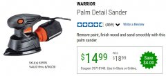 Harbor Freight Coupon WARRIOR PALM DETAIL SANDER Lot No. 63976 EXPIRES: 6/30/20 - $14.99