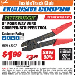 "Harbor Freight ITC Coupon 8"" FOUR-WAY WIRE CRIMPER/STRIPPER TOOL Lot No. 63307 Expired: 10/31/18 - $1.99"