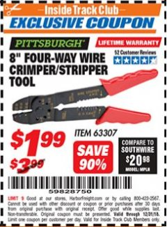 "Harbor Freight ITC Coupon 8"" FOUR-WAY WIRE CRIMPER/STRIPPER TOOL Lot No. 63307 Expired: 12/31/18 - $1.99"