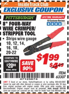 "Harbor Freight ITC Coupon 8"" FOUR-WAY WIRE CRIMPER/STRIPPER TOOL Lot No. 63307 Expired: 5/31/19 - $1.99"