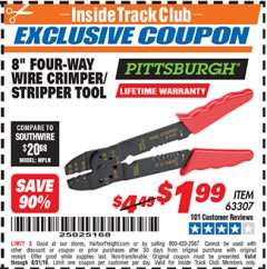 "Harbor Freight ITC Coupon 8"" FOUR-WAY WIRE CRIMPER/STRIPPER TOOL Lot No. 63307 Expired: 8/31/19 - $1.99"
