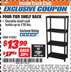 Harbor Freight ITC Coupon FOUR TIER SHELF RACK Lot No. 91883 Expired: 10/31/18 - $13.99