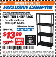 Harbor Freight ITC Coupon FOUR TIER SHELF RACK Lot No. 91883 Expired: 1/31/19 - $13.99