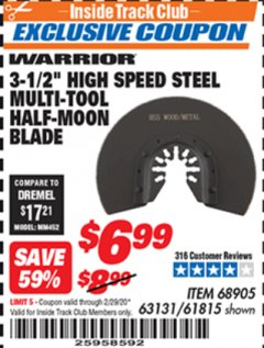"Harbor Freight ITC Coupon 3-1/2"" BI-METAL STEEL MULTI-TOOL HALF-MOON BLADE Lot No. 63131/68905/61815 Valid: 2/1/20 - 2/29/20 - $6.99"
