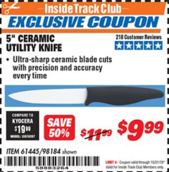 "Harbor Freight ITC Coupon 5"" CERAMIC UTILITY KNIFE Lot No. 61445 98184 Expired: 10/31/19 - $9.99"