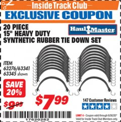 "Harbor Freight ITC Coupon 20 PIECE, 15"" HEAVY DUTY SYNTHETIC RUBBER TIE DOWN SETS Lot No. 63341 Dates Valid: 12/31/69 - 6/30/20 - $7.99"