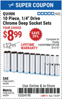 "Harbor Freight Coupon QUINN 10 PIECE, 1/4"" DRIVE CHROME SOCKET SETS Lot No. 64203/64204/64205/64206 Valid Thru: 7/5/20 - $8.99"