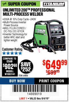 Harbor Freight Coupon TITANIUM UNLIMITED 200 PROFESSIONAL MULTIPROCESS WELDER Lot No. 64806 Expired: 8/4/19 - $649.99