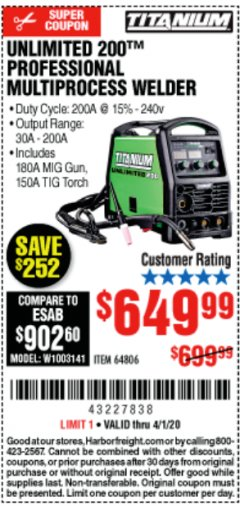 Harbor Freight Coupon TITANIUM UNLIMITED 200 PROFESSIONAL MULTIPROCESS WELDER Lot No. 64806 Valid Thru: 4/1/20 - $649.99