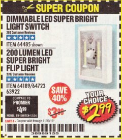 Harbor Freight Coupon DIMMABLE LED SUPER BRIGHT LIGHT SWITCH Lot No. 64485 Expired: 11/30/19 - $2.99