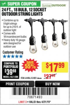 Harbor Freight Coupon 24FT., 18 BULB 12 SOCKET OUTDOOR STRING LIGHTS Lot No. 64486/63483 Expired: 4/21/19 - $17.99